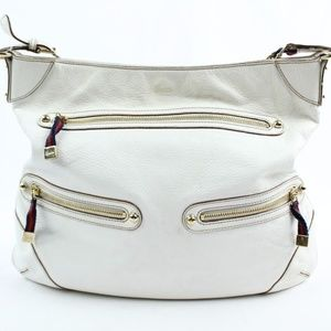 Gucci White Leather Shoulder Bag With Chain Strap